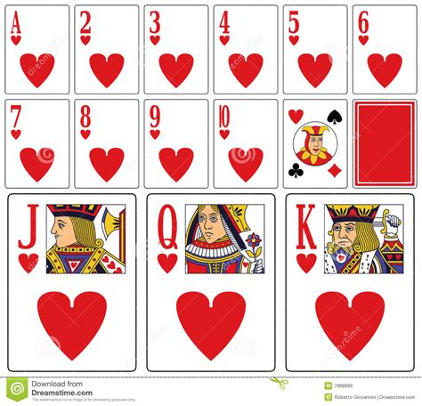 casino playing cards hearts stock vector illustration