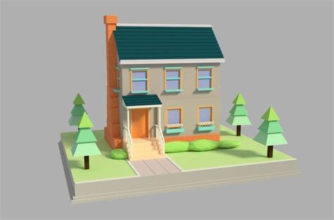 3d Asset Realtime Low Poly Cartoon House