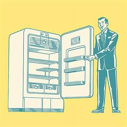 Refrigerator Vector Fridge Salesman Empty Clip Illustrations
