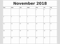 2018 Horizontal Printable Calendar Download Of All Months
