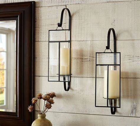 Pottery Barn Metal Wall Decor by Paned Glass Wall Candle Sconce Pottery Barn