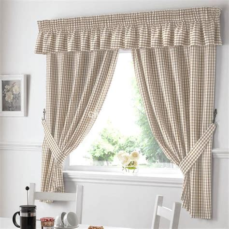 Gingham Ready Made Kitchen Curtains in Beige