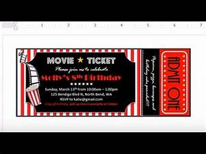 Example Of Birthday Invitation How To Make Invitation With Ms Word Movie Theater Ticket