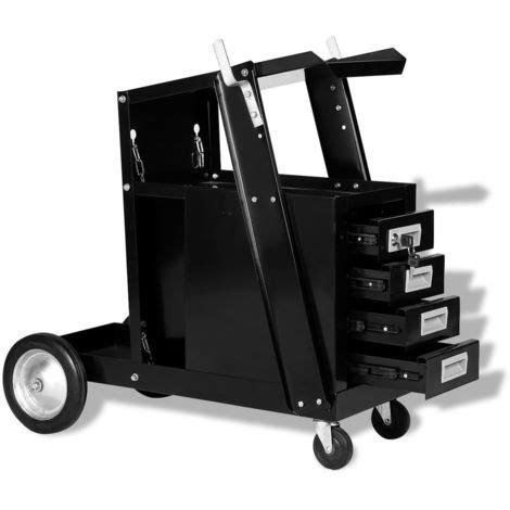 carrello con cassetti carrello di saldatura con 4 cassetti neri