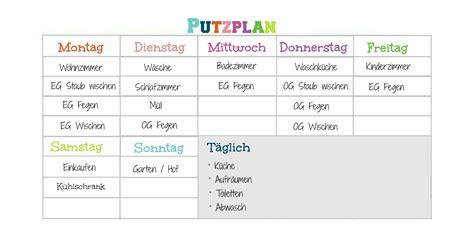 Putzplan Für Die Wohnung by Putzplan Die Hausmutter