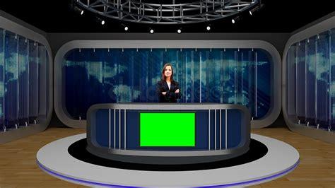 News 039 Tv Studio Set-virtual Green Screen Background Psd