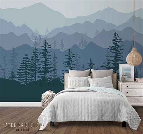 peel  stick ombre mountain pine trees forest scenery