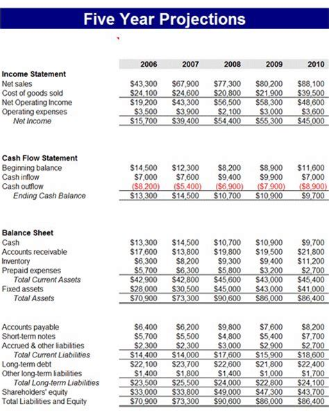 year business financial projections business budget
