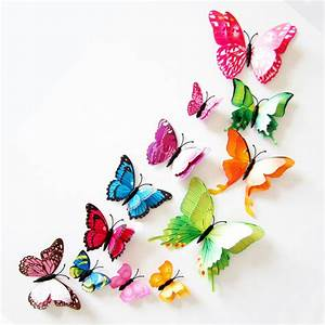 12pcs/lot Double Layer 3D Rainbow Butterfly Wall Stickers