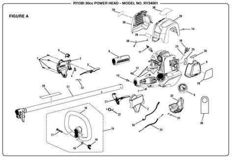 Ryobi Ry34001 30cc Power Head Parts And Accessories