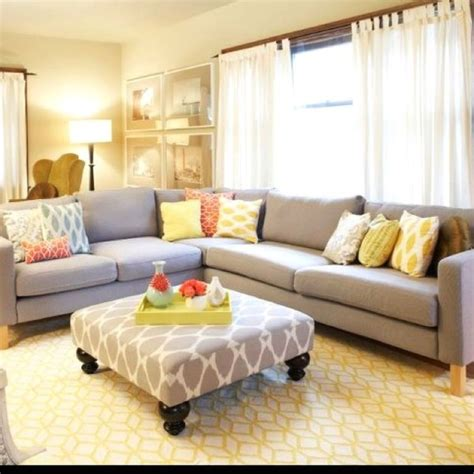 Room Decor Ideas Yellow And Gray by Sectional Gray Yellow And Chrome Color Scheme Living Room