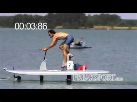 Man Powered Hydrofoil Boat by Waterbike Hydrofoil 100m Sprint In 14 11s Youtube