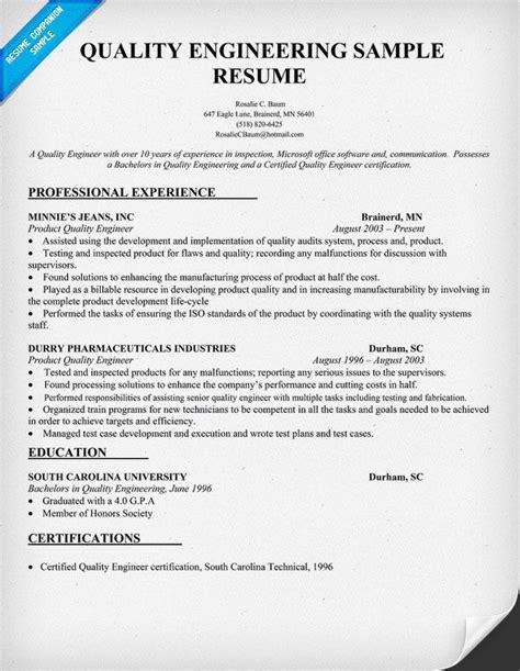 Resume Format For Quality Engineer quality engineering resume sle resumecompanion