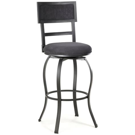 furniture black metal bar stools with back and footrest
