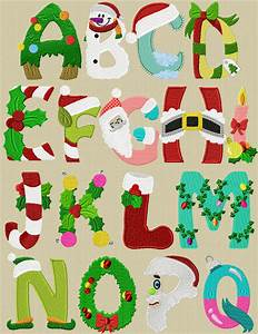 free christmas digital embroidery alphabet needle work With holiday alphabet letters