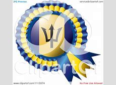 Clipart Shiny Barbados Flag Rosette Bowknots Medal Award