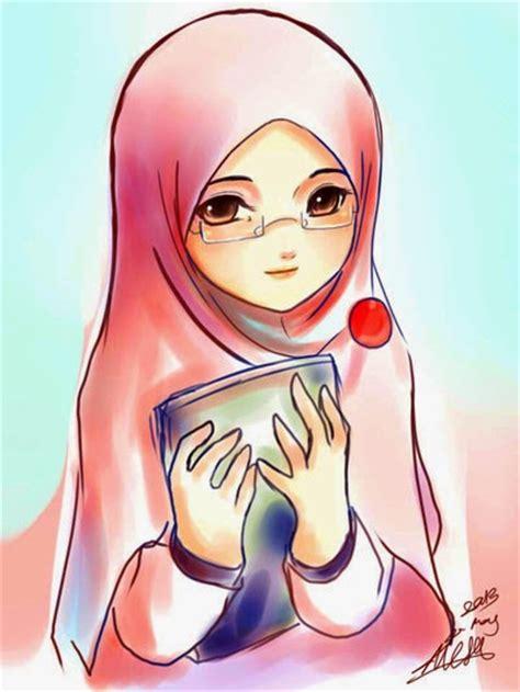 gambar animasi cewek berjilbab muslimah galau