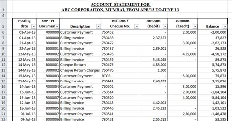 customer account statement template  excel