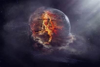 Explosion Space Planet Fantasy Artwork Wallpapers Desktop