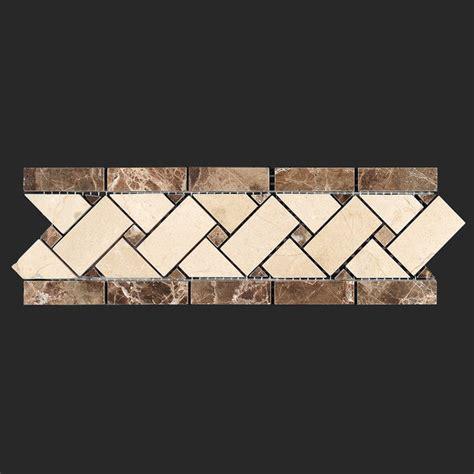 crema marfil marble basket weave border modern wall