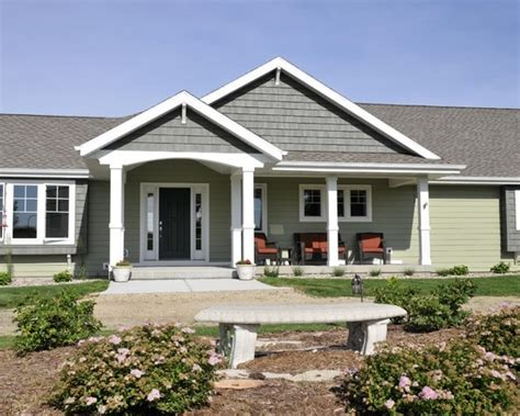 small gable porch exterior ranch homes design pictures