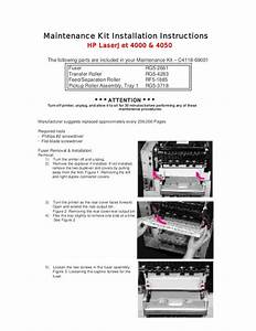Hp 4000 And 4050 Maintenance Kit Installation Instructions