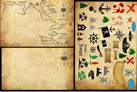 Treasure Map Symbols     Map  One with Water and One Without Water      Treasure Map Icons