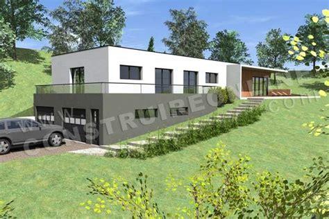 photo maison contemporaine sur terrain en pente maison