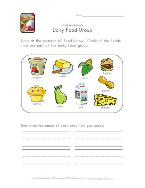 this simple food worksheet is for any food