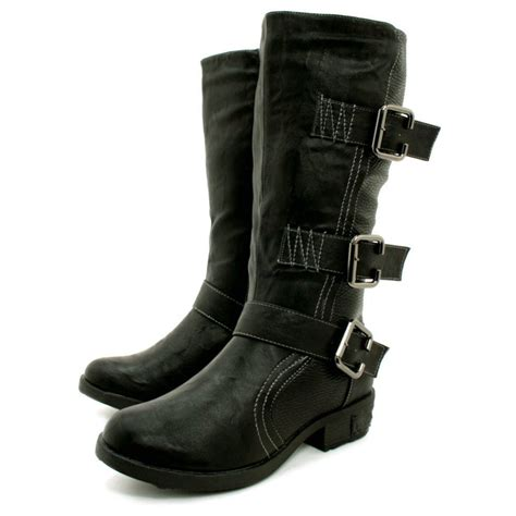 womens biker boots fashion womens black leather style biker multi buckle knee boots