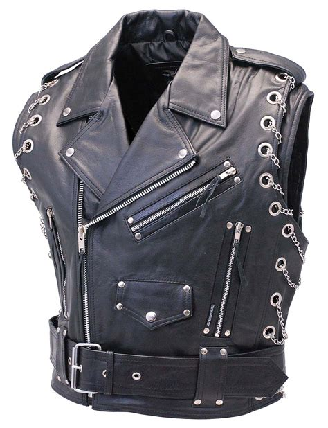 motorcycle jacket vest chromed out leather motorcycle vest with chains from jamin