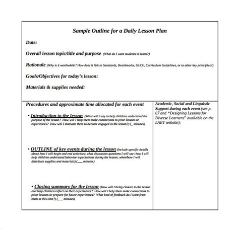 unit lesson plan samples sample templates