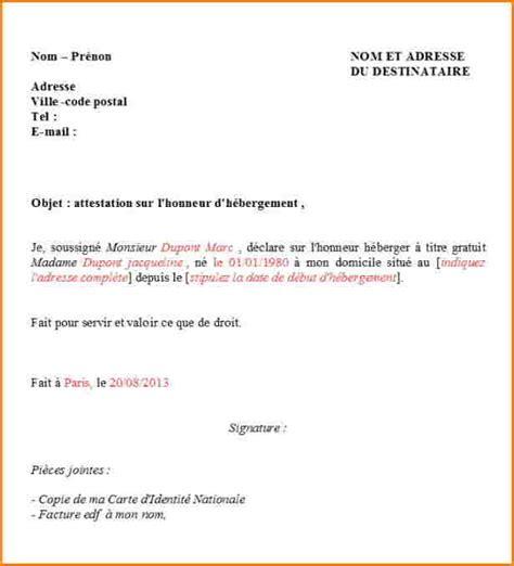 attestation hebergement modele word lettre d h 233 bergement exemple passieophetplatteland