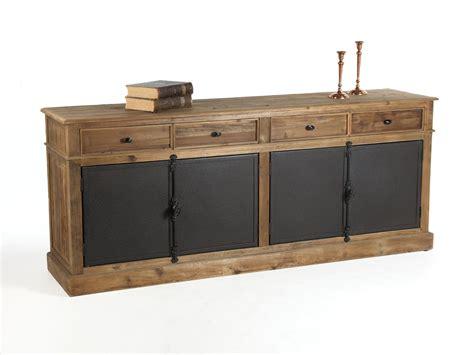 meuble à tiroir bureau buffet bas en bois avec tiroirs et portes en métal dynastie