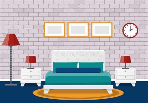 flat bedroom interior hotel room design vector