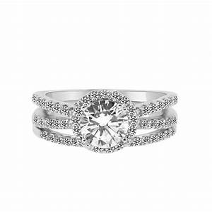 1 carat cz engagement ring with wedding band split shank for Split shank engagement ring with wedding band