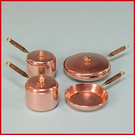 copper pans and pots dollhouse miniature set of 4 copper pots and pans by fisk 1980s 1 quot from curleycreekantiques