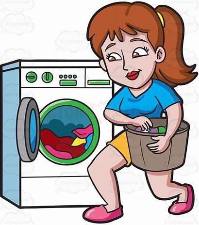 Washing Clothes Cartoon Clipart Machine Woman Laundry