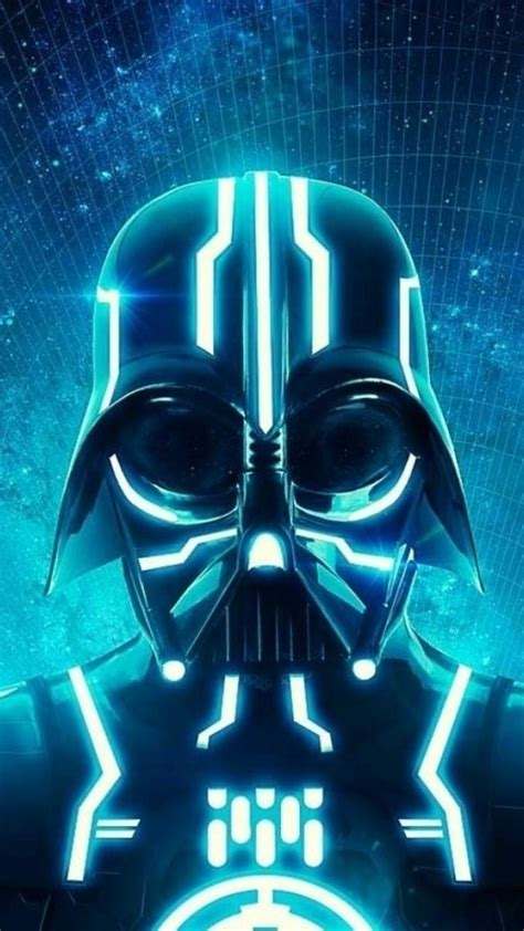 darth vader tron science fiction neon wallpaper
