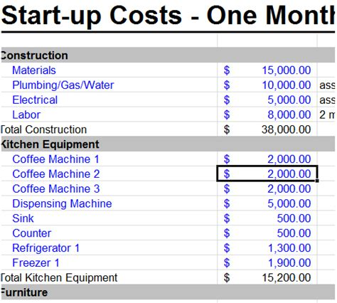 start up business budget template startup business budget template excel