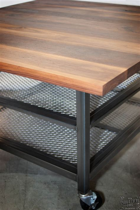walnut steel industrial kitchen island dining table