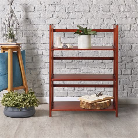 27 Wide Bookcase by Set Of 2 3 Shelf Folding Stackable Bookcase 27 5 Quot Wide