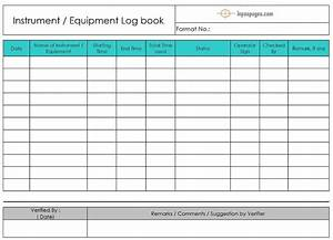 equipment logbook instrument logbook With equipment log book template
