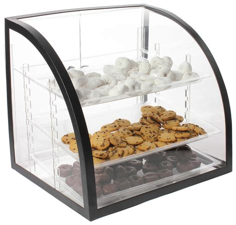 bakery display case curved acrylic bin  trays rear doors