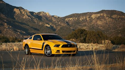 mountains nature cars ford mustang stripes yellow cars