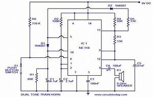 Dual Tone Train Horn Circuit Using Ne556 Ic