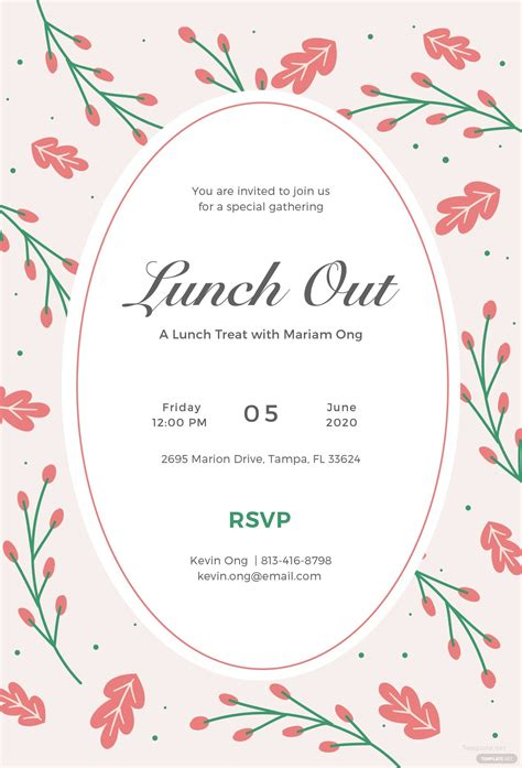 lunch invitation template  illustrator templatenet