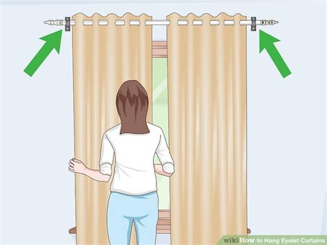 how to hang grommet drapes how to hang eyelet curtains with pictures wikihow