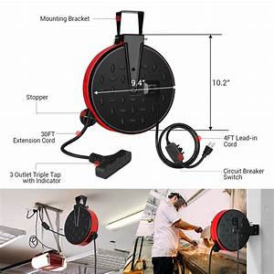 30 Ft Retractable Extension Cord Reel