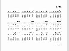 2017 Yearly Calendar Blank Minimal Design Free Printable